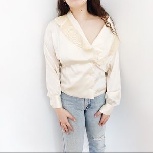 Vintage 80s Silk Pleated Cream Blouse